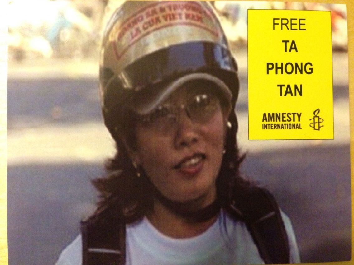 Amnesty International postcard for Ta Phong Tan, blogger serving 10 years in prison