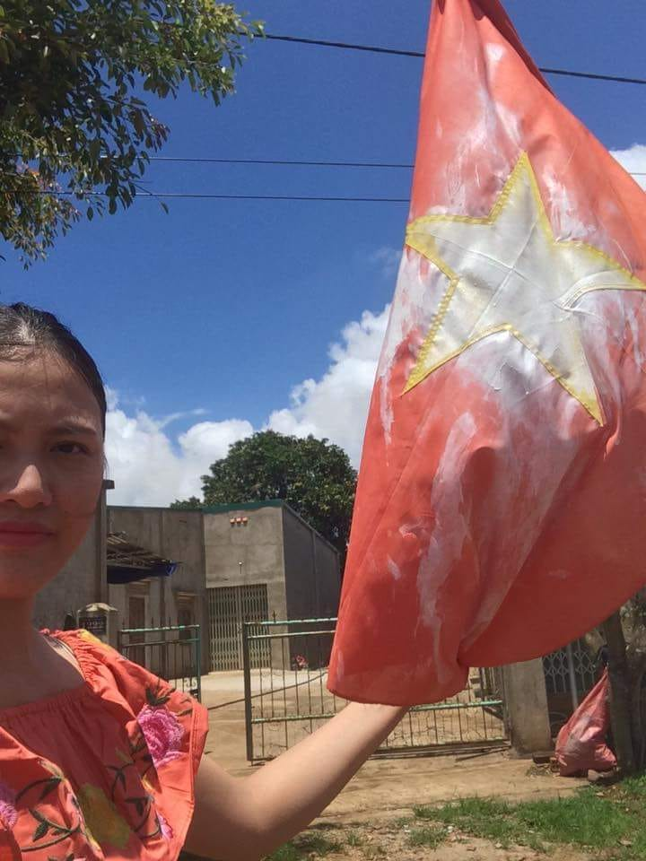 Huynh Thuc Vy painted flag 2017 source Huynh Thuc Vy blog