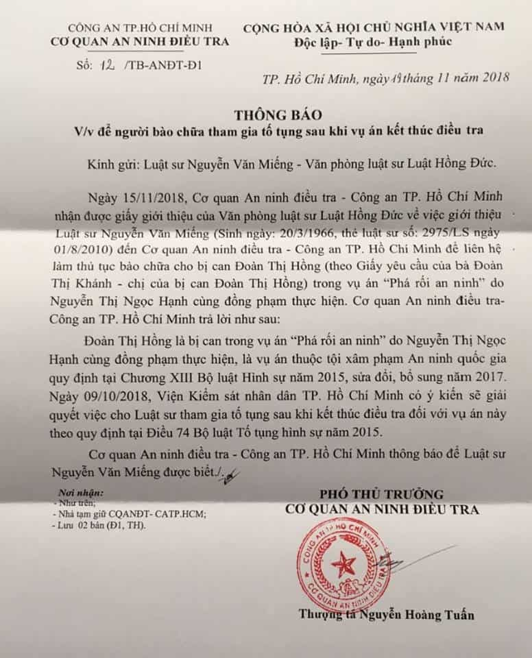 Letter on Doan Thi Hong's defense counsel_Source Facebook Thanh Thanh Phan
